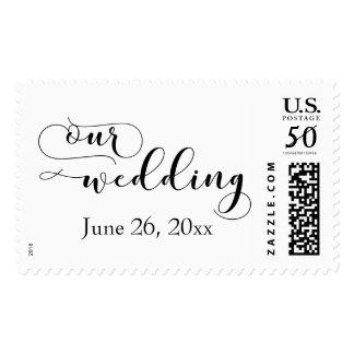 """Black on White """"Our Wedding"""", Add Your Date 19 Postage"""