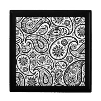 Black On White Paisley Pattern Design Keepsake Box