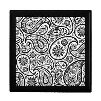 Black On White Paisley Pattern Design Keepsake Box