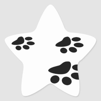 Black on White Paw Print Design Star Sticker