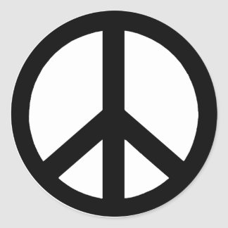 Black on White Peace Sign Stickers