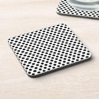 Black on White Polka Dot Pattern Beverage Coaster
