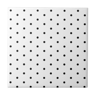 Black on White Polka Dots Small Square Tile