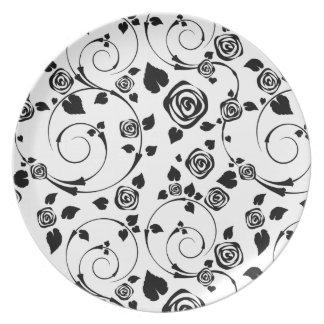 Black on White Rosettes Dinner Plate