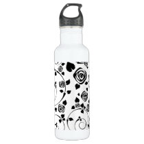 Black on White Rosettes Stainless Steel Water Bottle