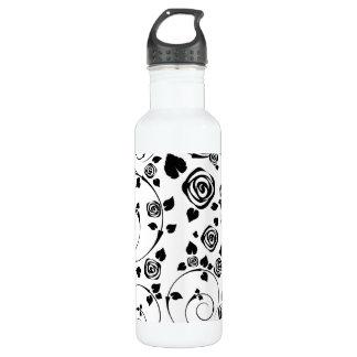 Black on White Rosettes Stainless Steel Water Bottle