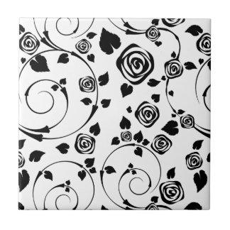 Black on White Rosettes Ceramic Tiles