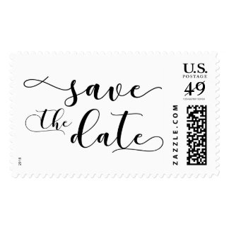 "Black on White ""Save the Date"" Typography 19d Postage"
