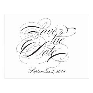 Black on white Script Save the Date Postcard