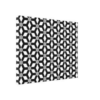 Black on White Tiled Hex Canvas