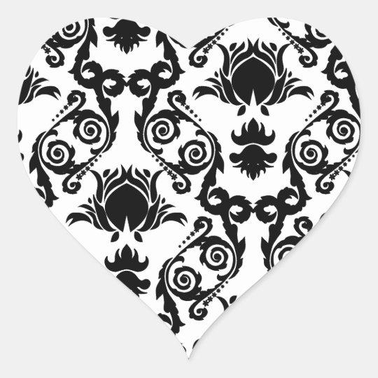 Black on White Tulip Damask Heart Sticker