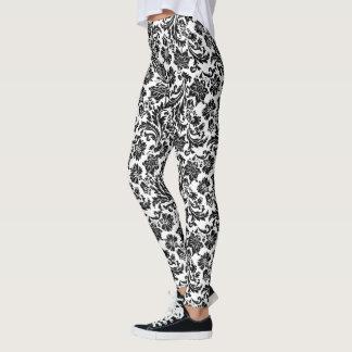 Black On White Vintage Damasks Pattern Leggings