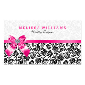 Black On White Vintage Damasks With Pink Bow Business Card