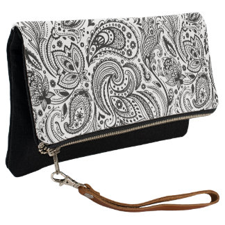 Black On White Vintage Floral Paisley Clutch