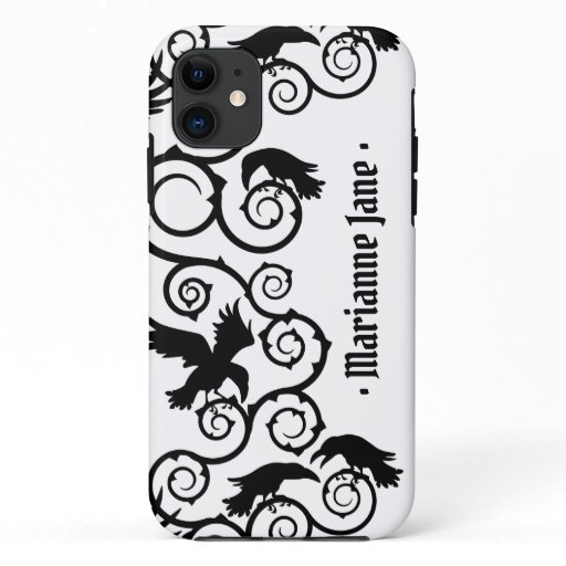 Black on White Witch Gothic Victorian Raven Goth iPhone 11 Case