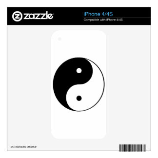 Black on White Yin Yang Skins For The iPhone 4S