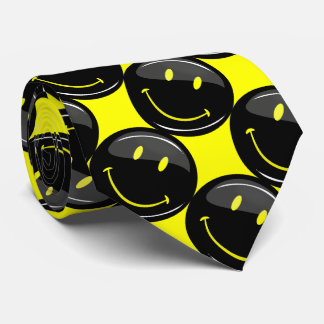 Black on Yellow Smiley Patterned Tie
