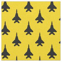 Black on Yellow Strike Eagle Fighter Jet Pattern Fabric