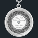 "Black Onyx Diamond Wedding Anniversary Silver Plated Necklace<br><div class=""desc"">A Digitalbcon Images Design featuring a platinum silver and black onyx style theme with a variety of custom images, shapes, patterns, styles and fonts in this one-of-a-kind ""Black Onyx Style Diamond Wedding Anniversary"" Silver Plated Necklace. This attractive and elegant design comes complete with customizable text lettering, making this the perfect...</div>"