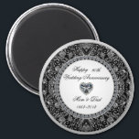 """Black Onyx Style Diamond Wedding Anniversary Magnet<br><div class=""""desc"""">A Digitalbcon Images Design featuring a platinum silver and black onyx style theme with a variety of custom images, shapes, patterns, styles and fonts in this one-of-a-kind """"Black Onyx Style Diamond Wedding Anniversary"""" Magnet. This attractive and elegant design comes complete with customizable text lettering to make this the perfect accessory...</div>"""