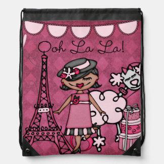 Black Ooh La La Diva Drawstring Backpack Bag