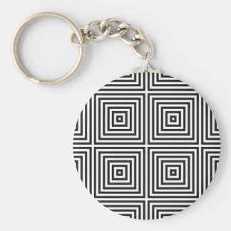 Black Op Art Concentric Squares Basic Round Button Keychain