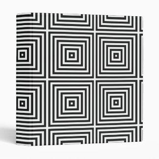 Black Op Art Concentric Squares Binder