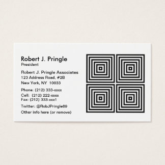 Black Op Art Concentric Squares Business Card
