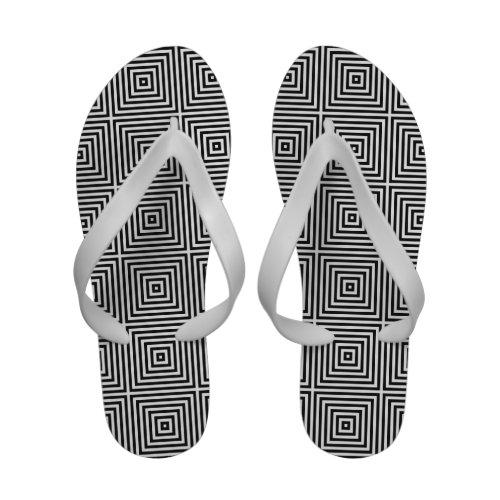Black Op Art Concentric Squares Flip-Flops