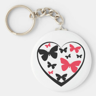 Black open heart with red & black butterflies keychain