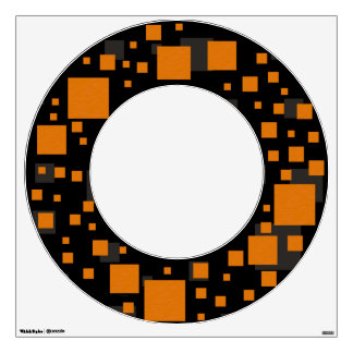 Black orange alert float squares Big O initial sun Wall Sticker