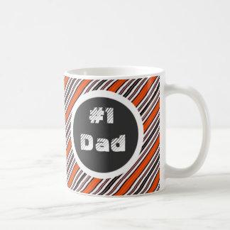 Black Orange and White Diagonal Stripes #1 Dad Coffee Mug
