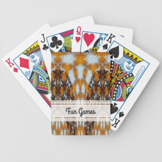 Black, Orange and White Pattern Bicycle Playing Cards
