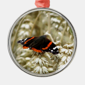 Black Orange and White Spotted Butterfly Metal Ornament