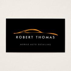 Black/orange Auto Detailing, Auto Repair Business Card at Zazzle