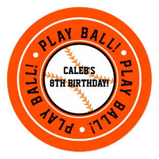 Black & Orange Baseball PLAY BALL Party Invitation