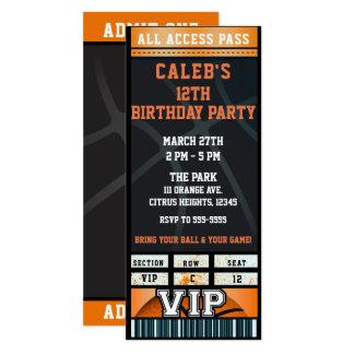 Black Orange Basketball Birthday Party VIP Ticket Card