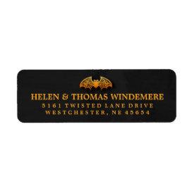 Black & Orange Bat Halloween Address Labels