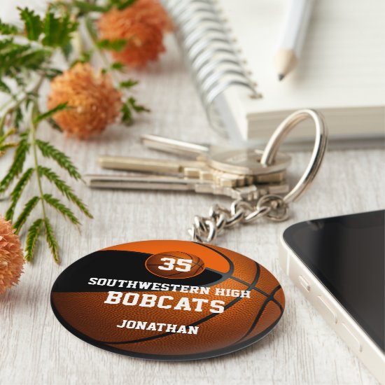 Black orange boys' basketball team gifts keychain