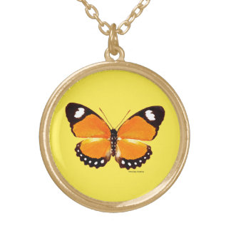 """""""Black & Orange Butterfly"""" Yellow Necklace"""
