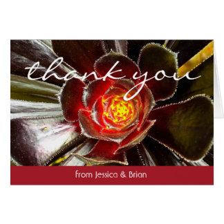 Black & orange cactus photo custom name thank you card