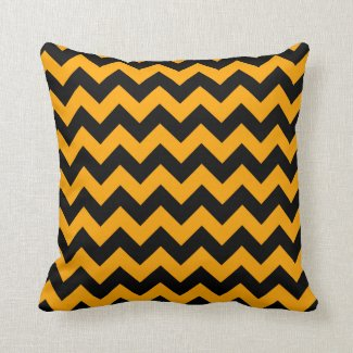 Black, Orange Chevron Stripes Throw Pillow
