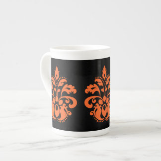 black orange damask tea cup