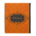 Black & Orange Elegant Vintage Floral Damask iPad Folio Covers