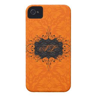 Black & Orange Elegant Vintage Floral Damask iPhone 4 Case