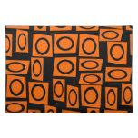 Black Orange Fun Circle Square Pattern Gifts Place Mat