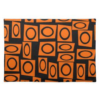 Black Orange Fun Circle Square Pattern Gifts Placemat