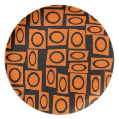 Black Orange Fun Circle Square Pattern Gifts Plate