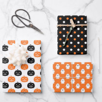 Black Orange Ghost Pumpkin Dots Halloween Wrapping Paper Sheets