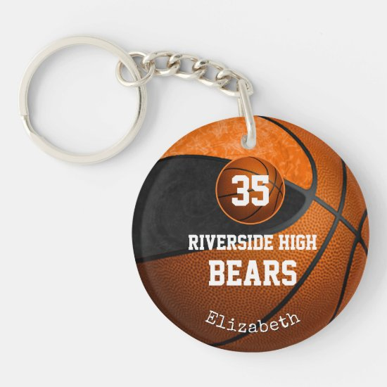 Black orange girls basketball I play like a girl Keychain